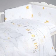 Albero Mio - Set lenjerie imprimata satinata 5 piese My Little Star, Grey, Gold