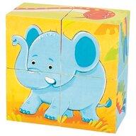 Goki - Puzzle cubic Animale salbatice Puzzle Copii, piese4