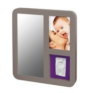 Baby Art Mirror Print Frame Taupe & Plum