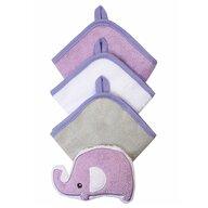 BabyOno - Set 3 manusi cu burete de baie elefant, mov