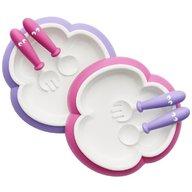 BabyBjorn - 2 Seturi hranire, farfurie, lingurita si furculita pentru bebe, Pink, Purple