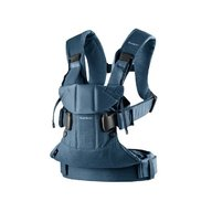 BabyBjorn - Marsupiu anatomic One, cu pozitii multiple de purtare, Bumbac, Denim Midnight Blue