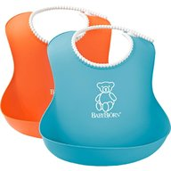 BabyBjorn - Set 2 bavete Soft Bib, Orange, Turquoise