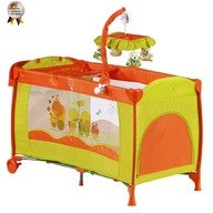 BabyGo  Patut pliant cu 2 nivele si mini-carusel Sleeper Deluxe orange