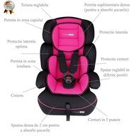 BabyGo - Scaun auto copii FreeMove, 9-36 kg, Pink