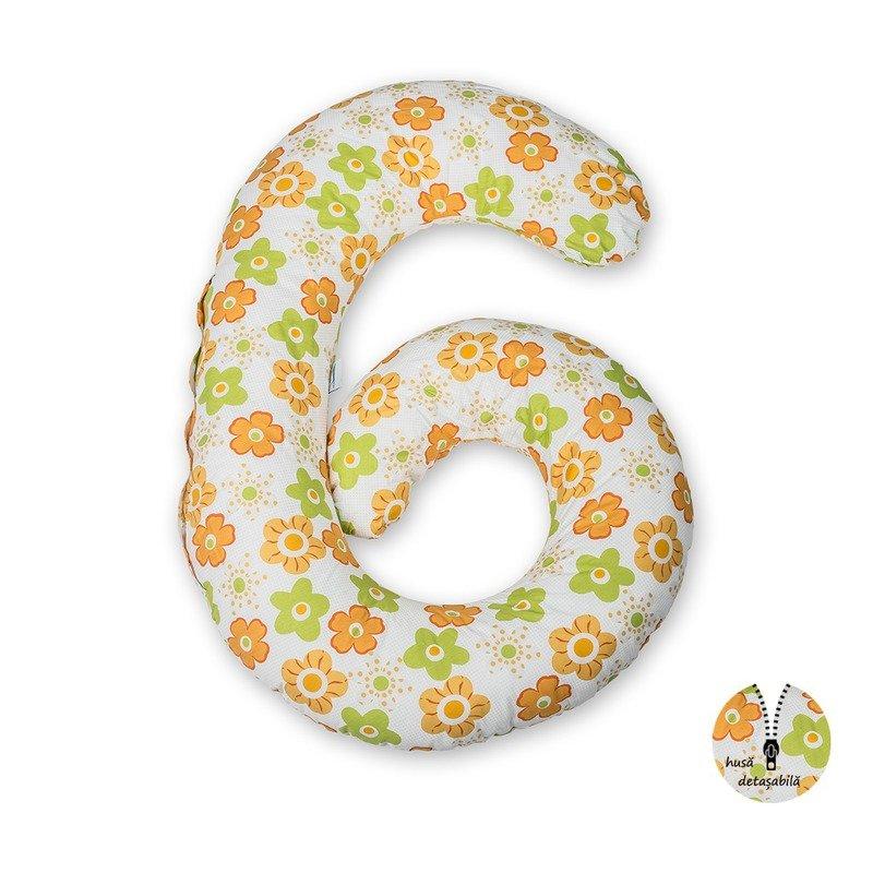 BabyNeeds Enjoy Perna multifunctionala Floricele portocalii