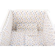 BabyNeeds - Lenjerie patut 5 piese 120x60 cm, Catelusi, Albastru-Crem