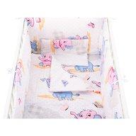 BabyNeeds - Lenjerie patut 5 piese 120x60 cm, Elefantei, Albastru-Roz