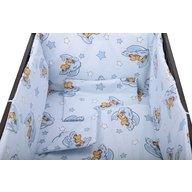 BabyNeeds - Lenjerie patut 5 piese 120x60 cm, Ursuleti somnorosi, Albastru
