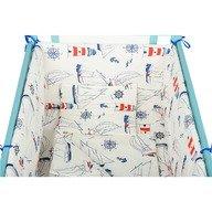 BabyNeeds - Lenjerie patut 5 piese 120x60 cm, Navigatorii, Alb-Albastru