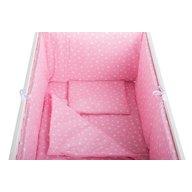 BabyNeeds - Lenjerie patut 5 piese 120x60 cm, Roz cu stelute albe