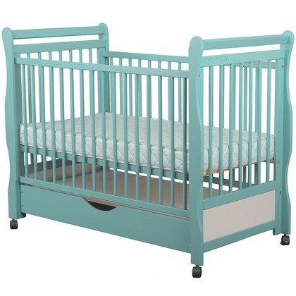 BabyNeeds Patut din lemn Jas 120x60 cm cu sertar Mint + Saltea 9 cm