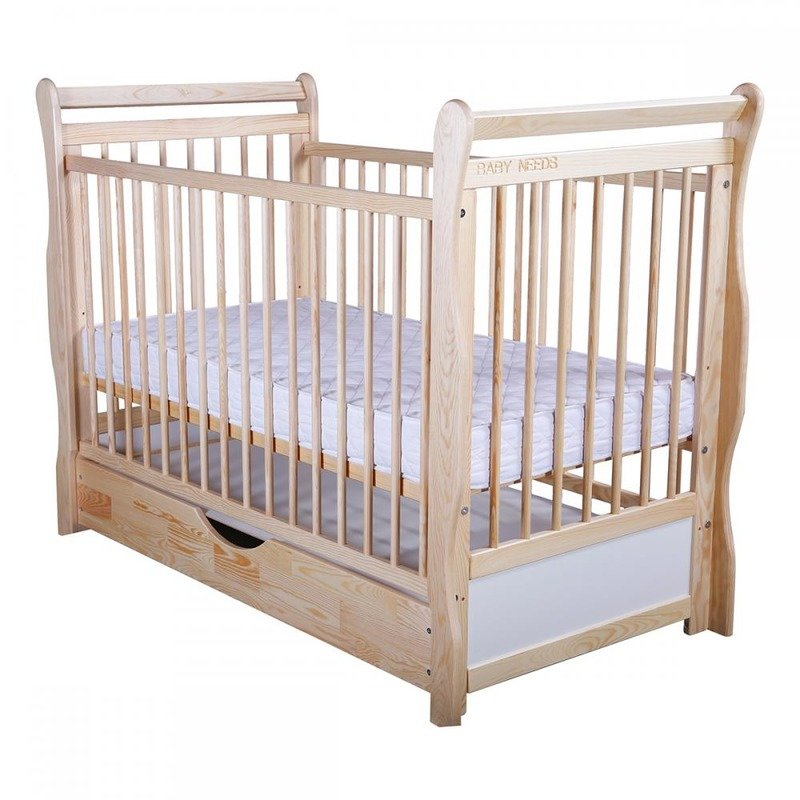 BabyNeeds Patut din lemn Jas 120x60 cm cu sertar Natur
