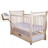 BabyNeeds Patut din lemn Jas 120x60 cm cu sertar  Natur + Saltea 9 cm