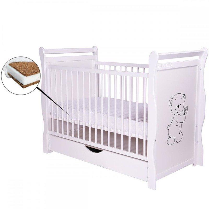 BabyNeeds Patut din lemn Jas Ursulet 120x60 cm cu sertar Alb + Saltea 10 cm