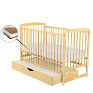 BabyNeeds Patut din lemn Ola 120x60 cm cu sertar Natur + Saltea 10 cm