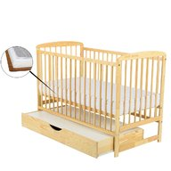 BabyNeeds Patut din lemn Ola 120x60 cm cu sertar Natur + Saltea 9 cm
