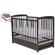 BabyNeeds - Patut din lemn Ola 120x60 cm, cu sertar, Venghe + Saltea 10 cm