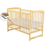 BabyNeeds Patut din lemn Ola 120x60 cm Natur + Saltea  10 cm