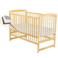 BabyNeeds Patut din lemn Ola 120x60 cm Natur  + Saltea 9 cm