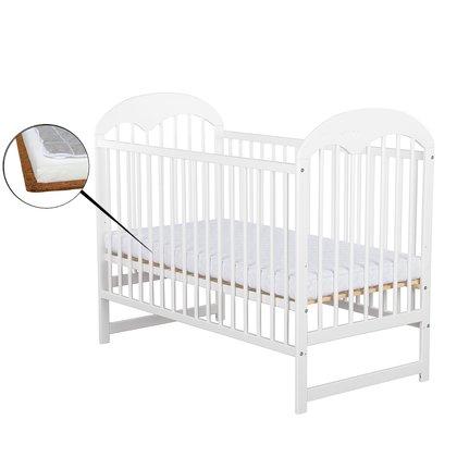 BabyNeeds Patut din lemn Oskar 120x60 cm Alb + Saltea 9 cm
