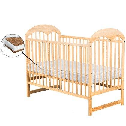 BabyNeeds - Patut din lemn Oskar 120x60 cm, Natur + Saltea 10 cm