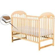 BabyNeeds - Patut din lemn Oskar 120x60 cm, Natur+ Saltea 12 cm