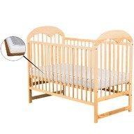 BabyNeeds Patut din lemn Oskar  120x60 cm Natur + Saltea 9 cm