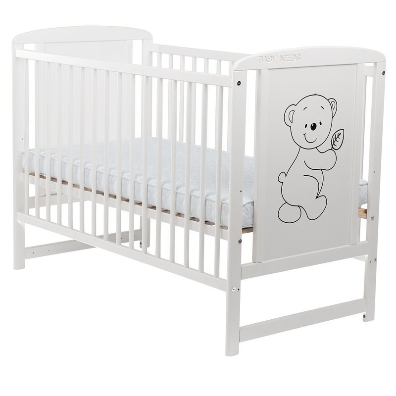 BabyNeeds Patut din lemn Timmi 120x60 cm Alb