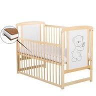 BabyNeeds - Patut din lemn Timmi 120x60 cm, cu laterala culisanta, Natur + Saltea 12 cm
