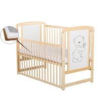 BabyNeeds Patut din lemn Timmi 120x60 cm cu laterala culisanta Natur + Saltea 9 cm