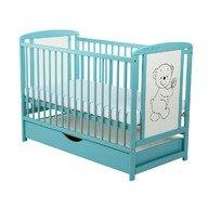 BabyNeeds - Patut din lemn Timmi 120x60 cm, cu sertar, Mint