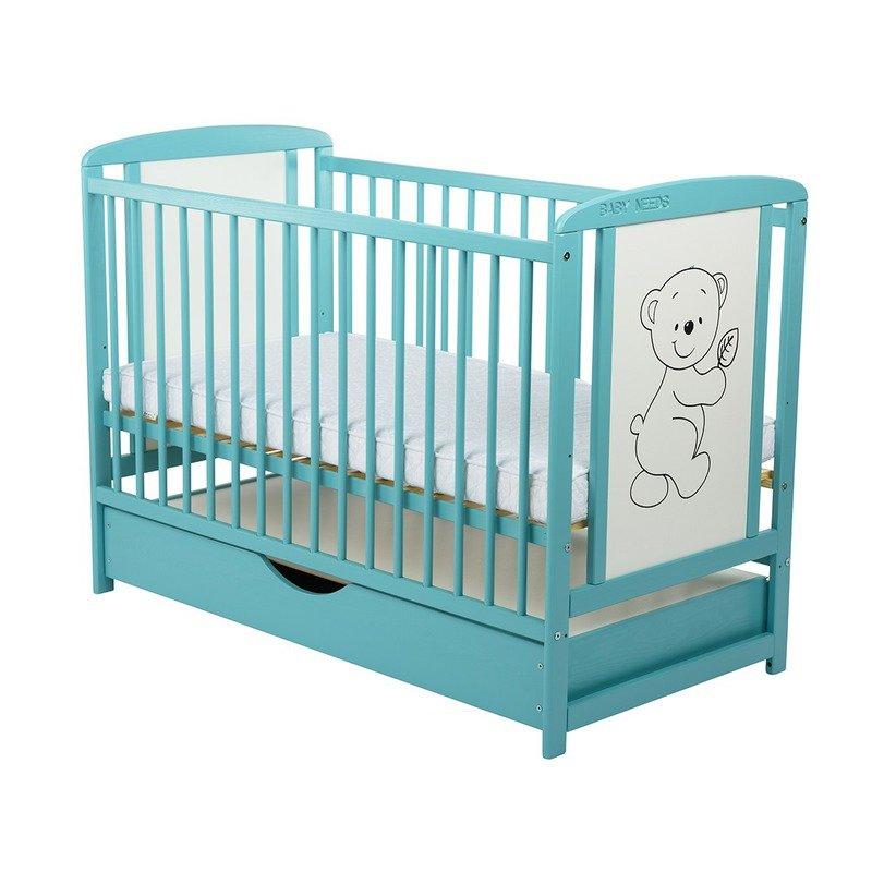 BabyNeeds Patut din lemn Timmi 120x60 cm cu sertar Mint