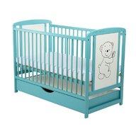 BabyNeeds - Patut din lemn Timmi 120x60 cm, cu sertar, Mint, Resigilat