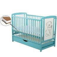 BabyNeeds - Patut din lemn Timmi 120x60 cm, cu sertar, Mint+ Saltea 12 cm