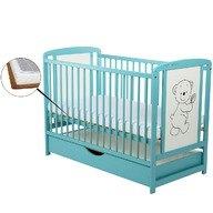 BabyNeeds Patut din lemn Timmi 120x60 cm cu sertar Mint + Saltea 9 cm