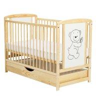 BabyNeeds - Patut din lemn Timmi 120x60 cm, cu sertar, Natur