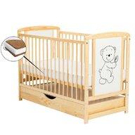 BabyNeeds - Patut din lemn Timmi 120x60 cm, cu sertar, Natur + Saltea 8 cm