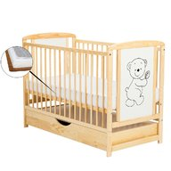 BabyNeeds Patut din lemn Timmi 120x60 cm cu sertar Natur + Saltea 9 cm