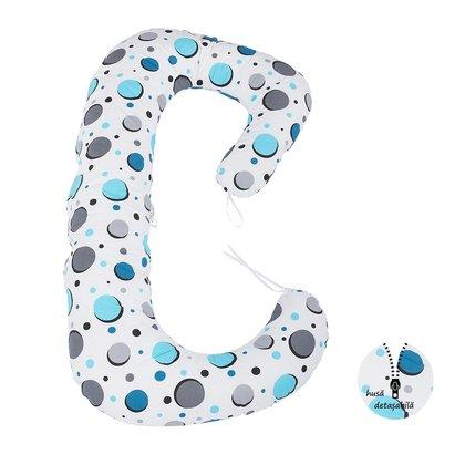 BabyNeeds - Perna 3 in 1 pentru gravide si bebelusi Soft Plus, Bulinute turcoaz