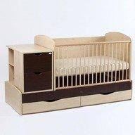 Bebe Design Patut bebelusi si copii Transformer EcoPlusFix natur-wenge PTE01.03