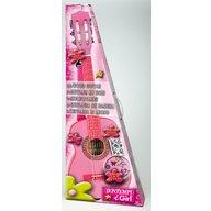 Bontempi Chitara din lemn 75 cm roz cu stickere