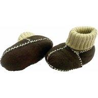 Altabebe - Botosei din piele si blanita de miel cu mansete tricotate, marime 16, Maro inchis