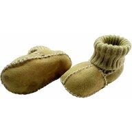 Altabebe - Botosei din piele si blanita de miel cu mansete tricotate, marime 18, Galben