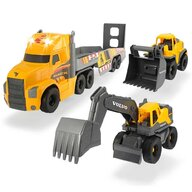 Dickie Toys - Camion  Mack Volvo Heavy Loader Truck cu remorca, buldozer si camion basculant
