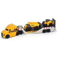 Dickie Toys - Camion  Mack Volvo Micro Builder cu remorca, buldozer si camion basculant