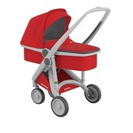 Greentom - Carucior 2 in 1, 100% ecologic, Grey Red
