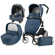 Peg Perego - Carucior 3 in 1,  Book Plus 51, Black&White, Completo Elite Urban Denim