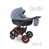 Camarelo - Carucior copii 3 in 1 Sevilla Xse-6, Albastru/Rosu
