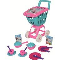Ucar Toys - Carucior cumparaturi cu capac si 17 piese bucatarie 47 cm